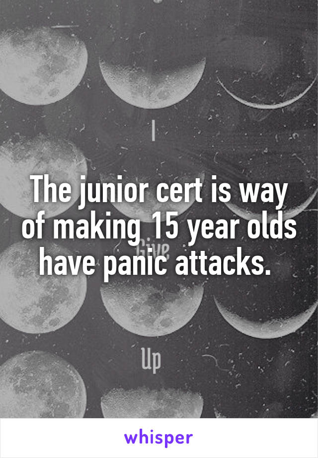 The junior cert is way of making 15 year olds have panic attacks.