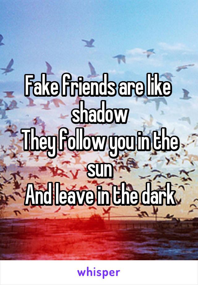Fake friends are like  shadow They follow you in the sun And leave in the dark
