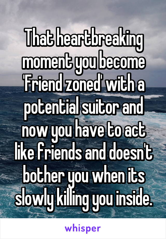 That heartbreaking moment you become 'Friend zoned' with a potential suitor and now you have to act like friends and doesn't bother you when its slowly killing you inside.