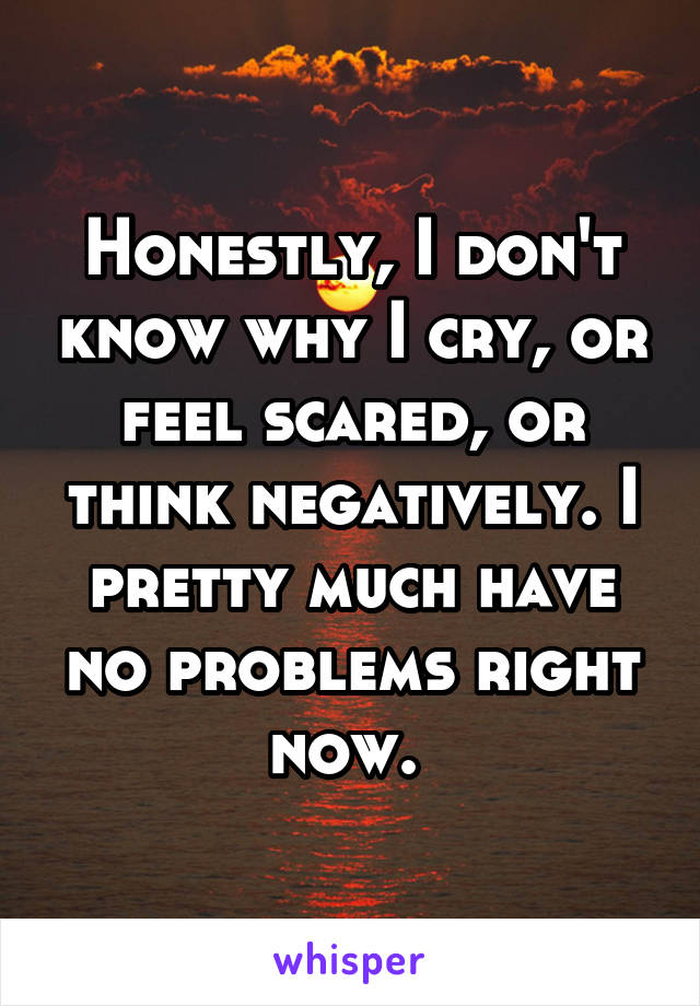 Honestly, I don't know why I cry, or feel scared, or think negatively. I pretty much have no problems right now.