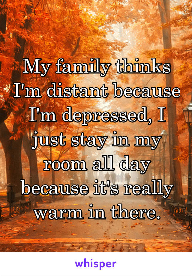 My family thinks I'm distant because I'm depressed, I just stay in my room all day because it's really warm in there.