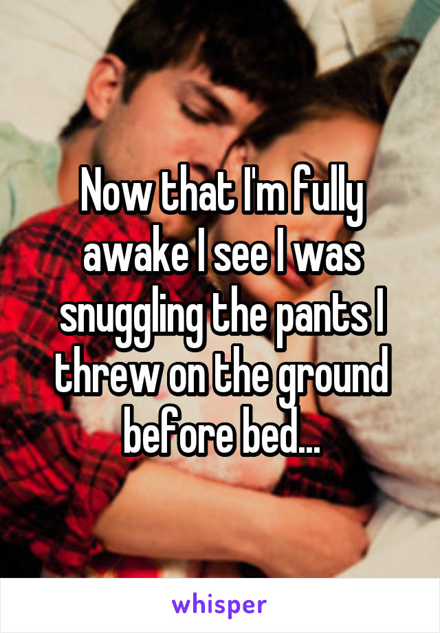 Now that I'm fully awake I see I was snuggling the pants I threw on the ground before bed...
