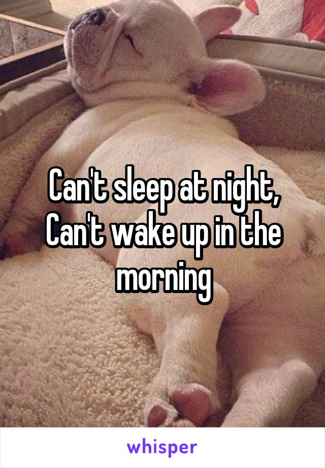 Can't sleep at night, Can't wake up in the morning