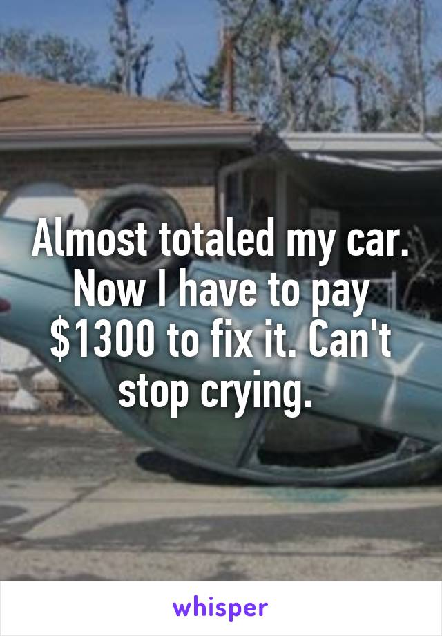 Almost totaled my car. Now I have to pay $1300 to fix it. Can't stop crying.