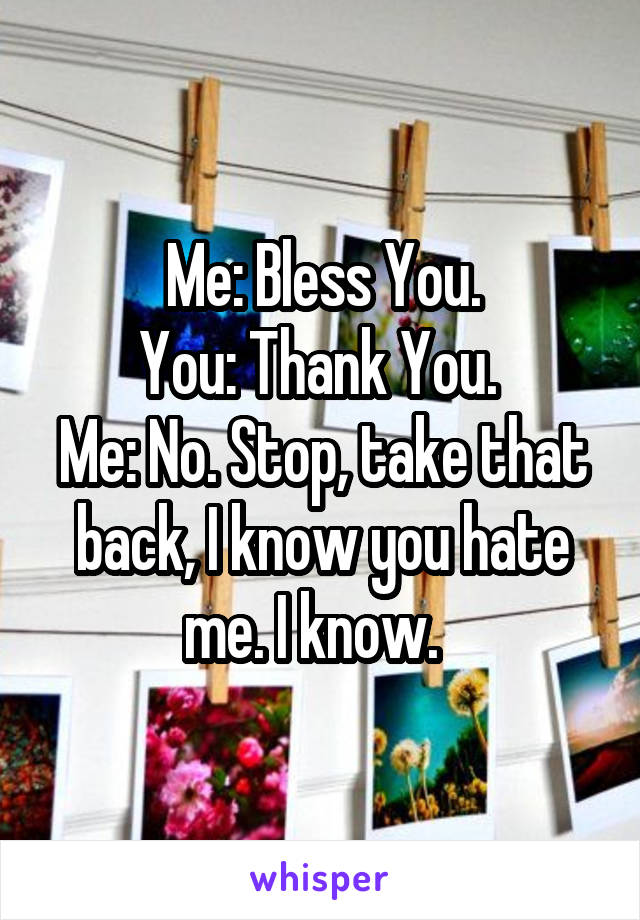 Me: Bless You. You: Thank You.  Me: No. Stop, take that back, I know you hate me. I know.