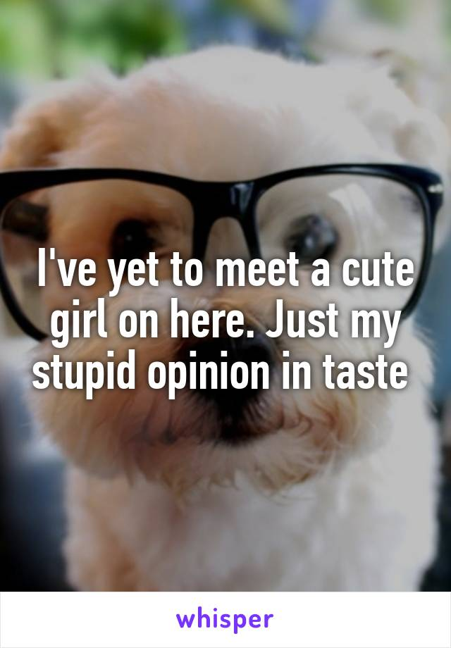 I've yet to meet a cute girl on here. Just my stupid opinion in taste