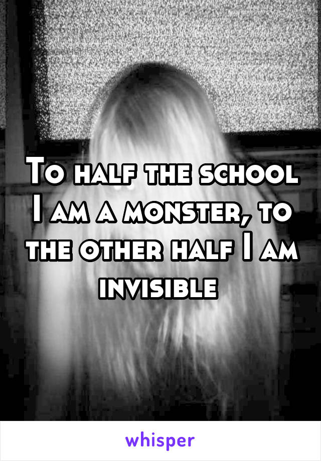 To half the school I am a monster, to the other half I am invisible