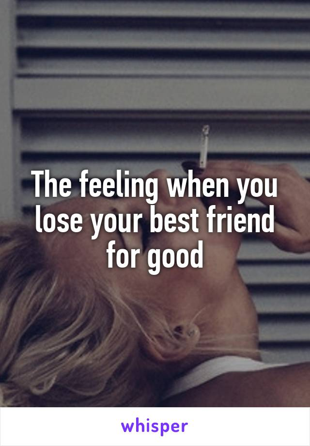 The feeling when you lose your best friend for good