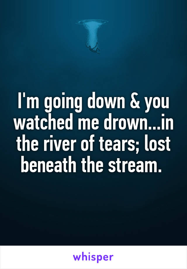 I'm going down & you watched me drown...in the river of tears; lost beneath the stream.
