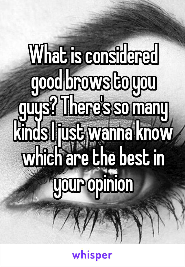 What is considered good brows to you guys? There's so many kinds I just wanna know which are the best in your opinion