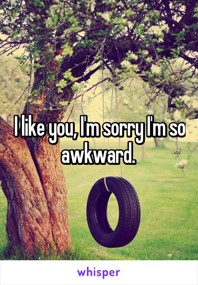 I like you, I'm sorry I'm so awkward.