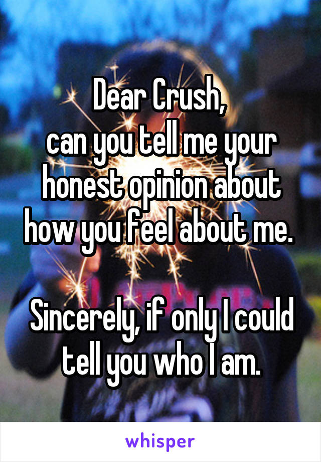 Dear Crush,  can you tell me your honest opinion about how you feel about me.   Sincerely, if only I could tell you who I am.