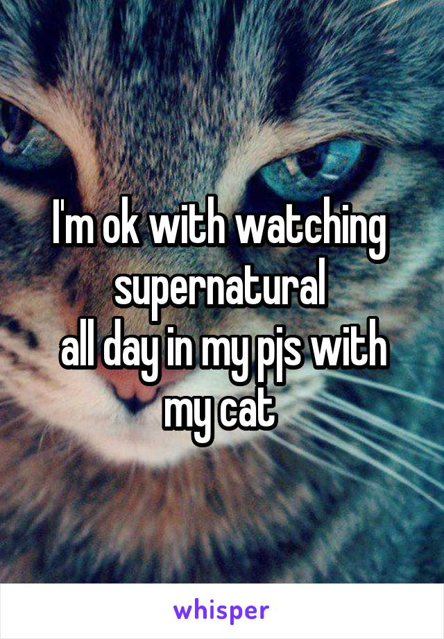 I'm ok with watching  supernatural  all day in my pjs with my cat
