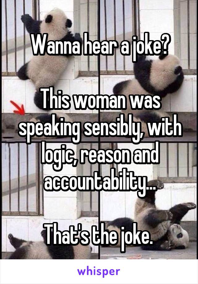 Wanna hear a joke?  This woman was speaking sensibly, with logic, reason and accountability...  That's the joke.