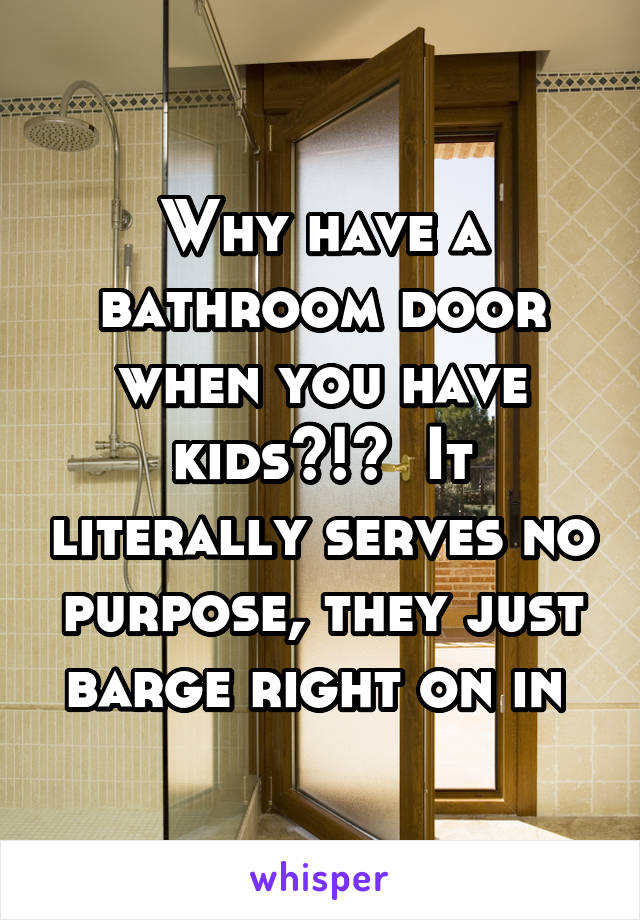 Why have a bathroom door when you have kids?!?  It literally serves no purpose, they just barge right on in