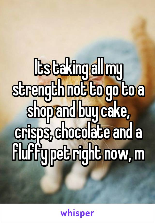 Its taking all my strength not to go to a shop and buy cake, crisps, chocolate and a fluffy pet right now, m