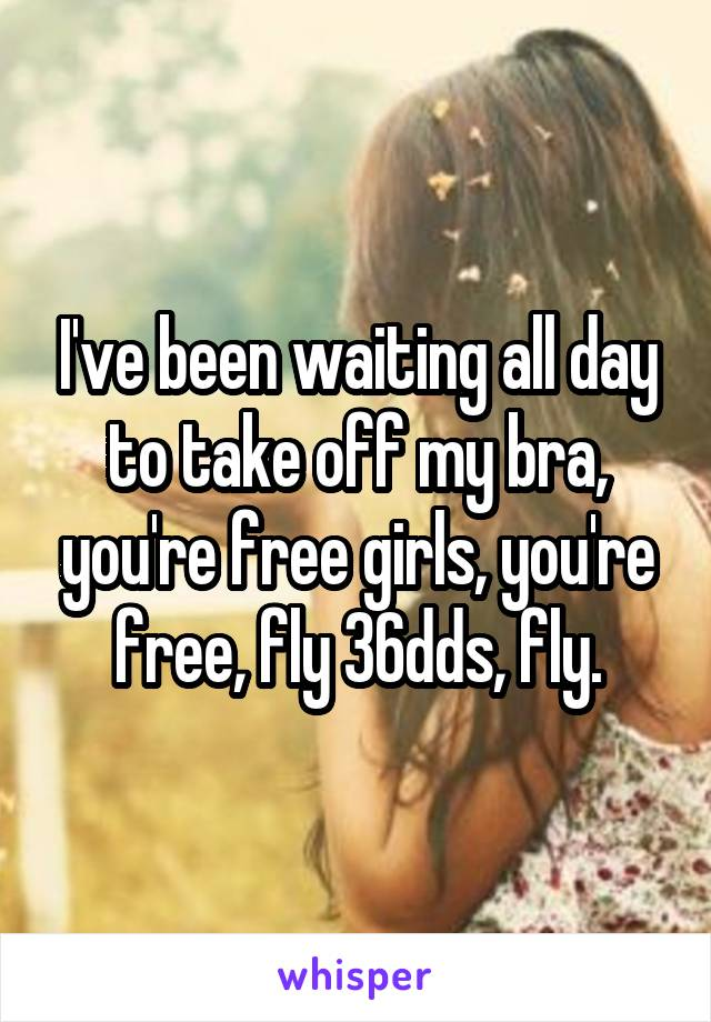I've been waiting all day to take off my bra, you're free girls, you're free, fly 36dds, fly.