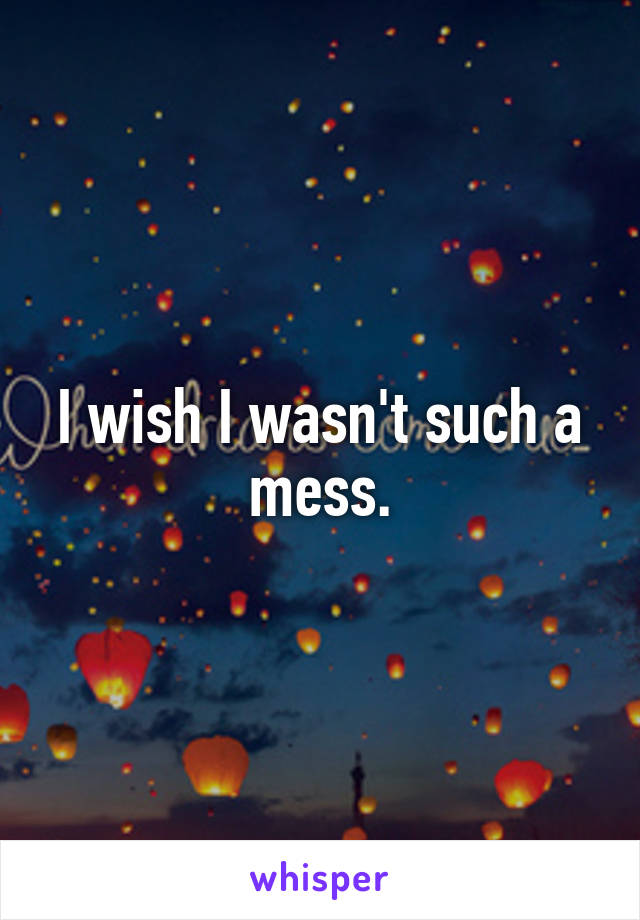I wish I wasn't such a mess.