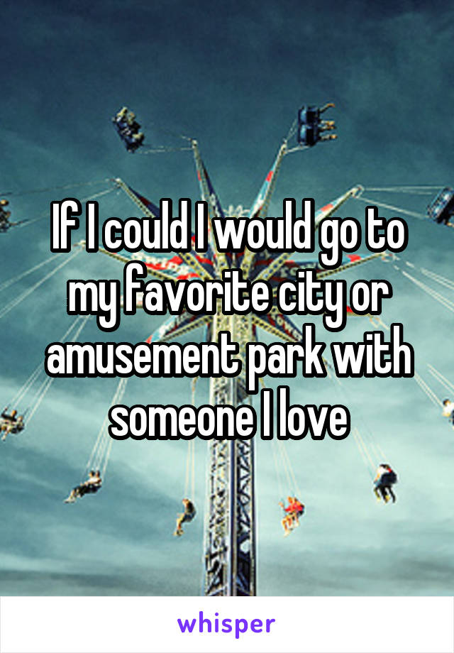 If I could I would go to my favorite city or amusement park with someone I love