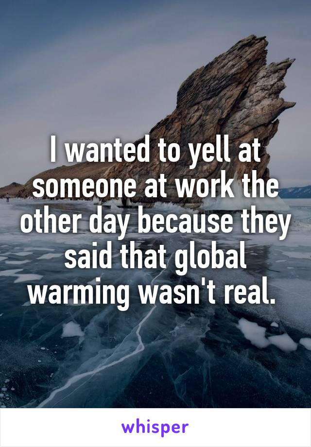 I wanted to yell at someone at work the other day because they said that global warming wasn't real.