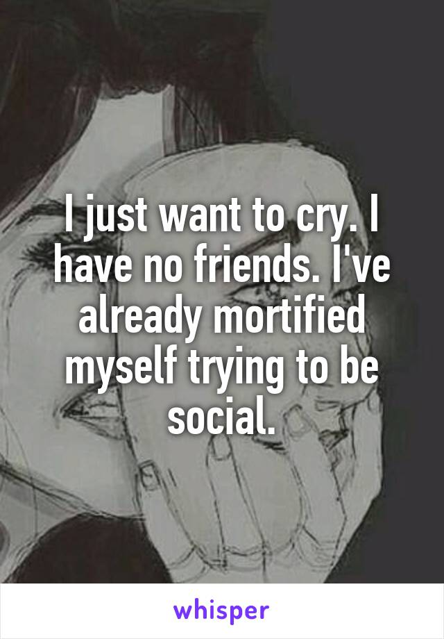 I just want to cry. I have no friends. I've already mortified myself trying to be social.