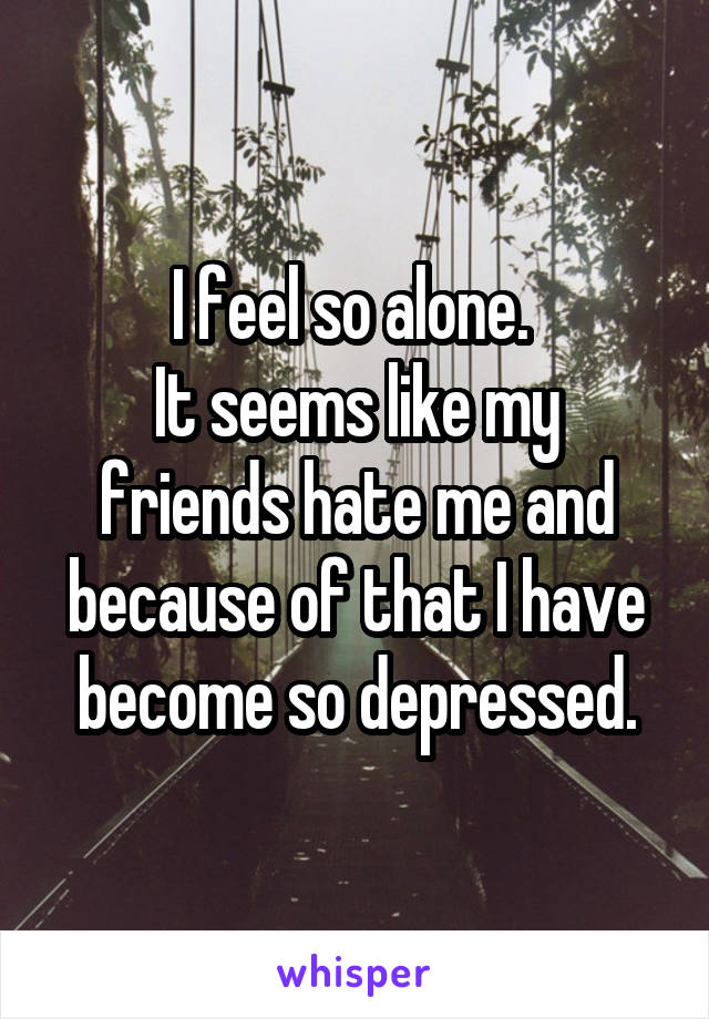 I feel so alone.  It seems like my friends hate me and because of that I have become so depressed.