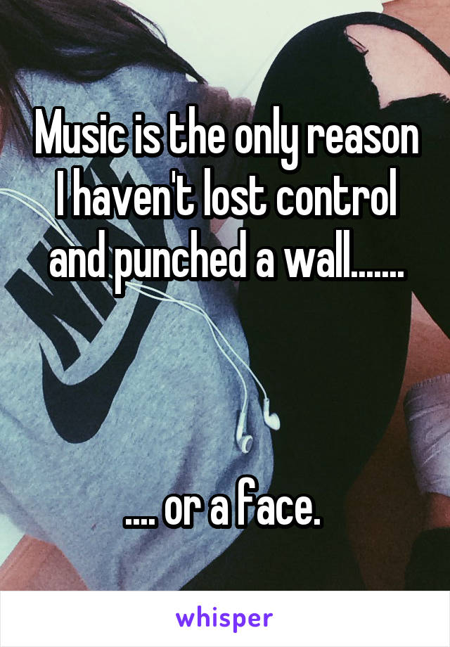 Music is the only reason I haven't lost control and punched a wall.......    .... or a face.