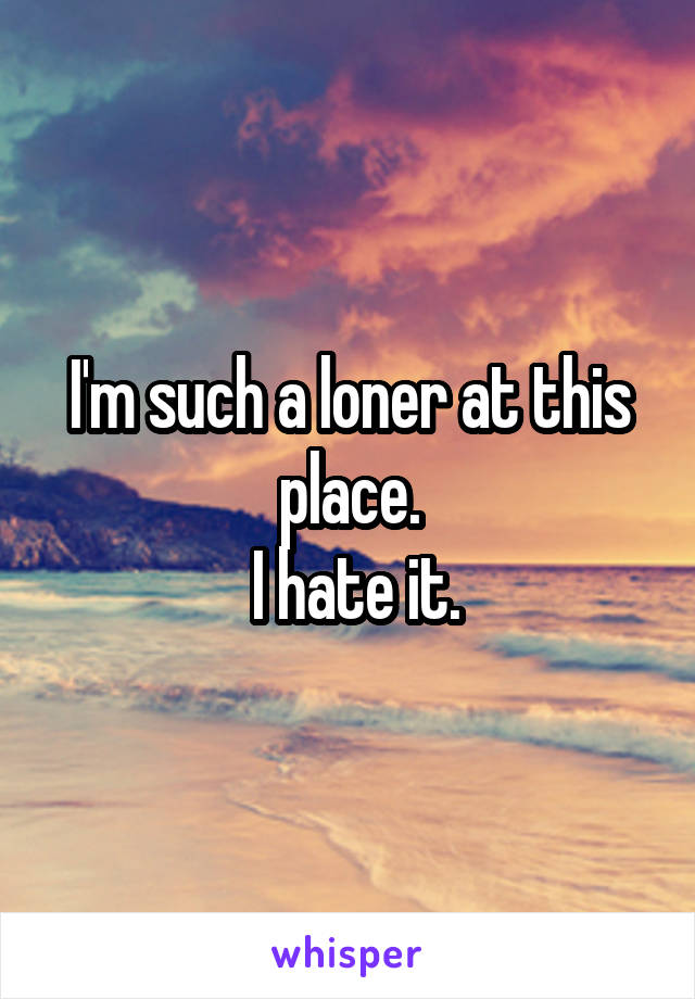 I'm such a loner at this place.  I hate it.