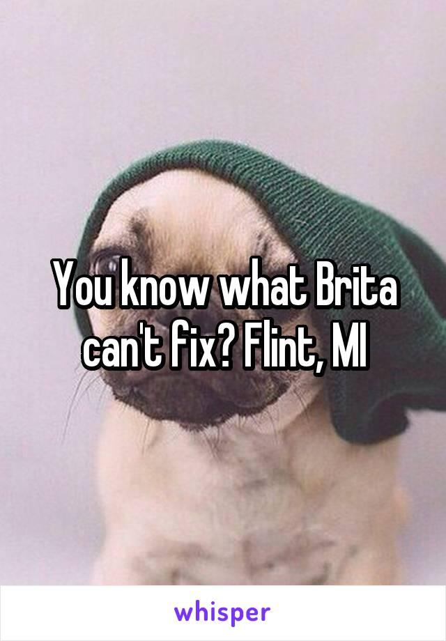 You know what Brita can't fix? Flint, MI