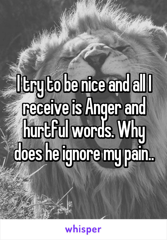 I try to be nice and all I receive is Anger and hurtful words. Why does he ignore my pain..