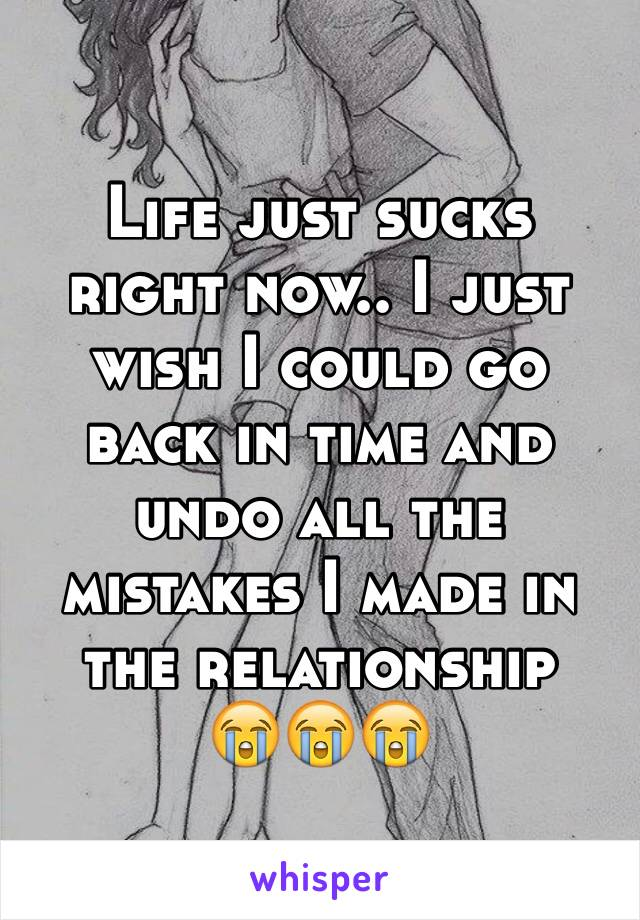 Life just sucks right now.. I just wish I could go back in time and undo all the mistakes I made in the relationship 😭😭😭