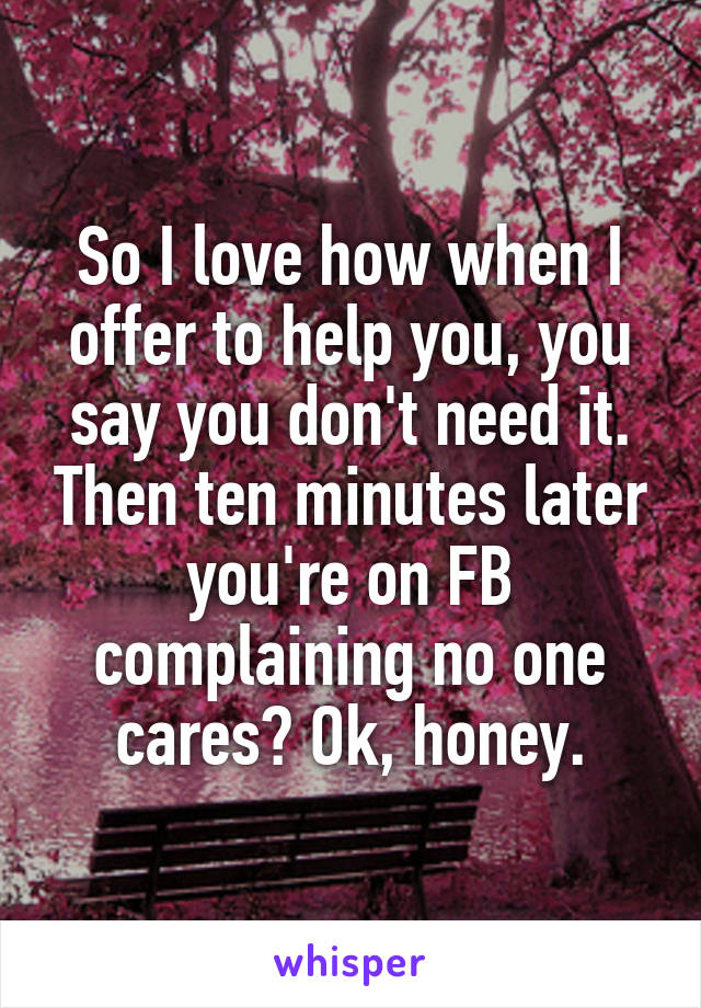So I love how when I offer to help you, you say you don't need it. Then ten minutes later you're on FB complaining no one cares? Ok, honey.