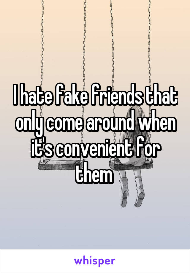 I hate fake friends that only come around when it's convenient for them