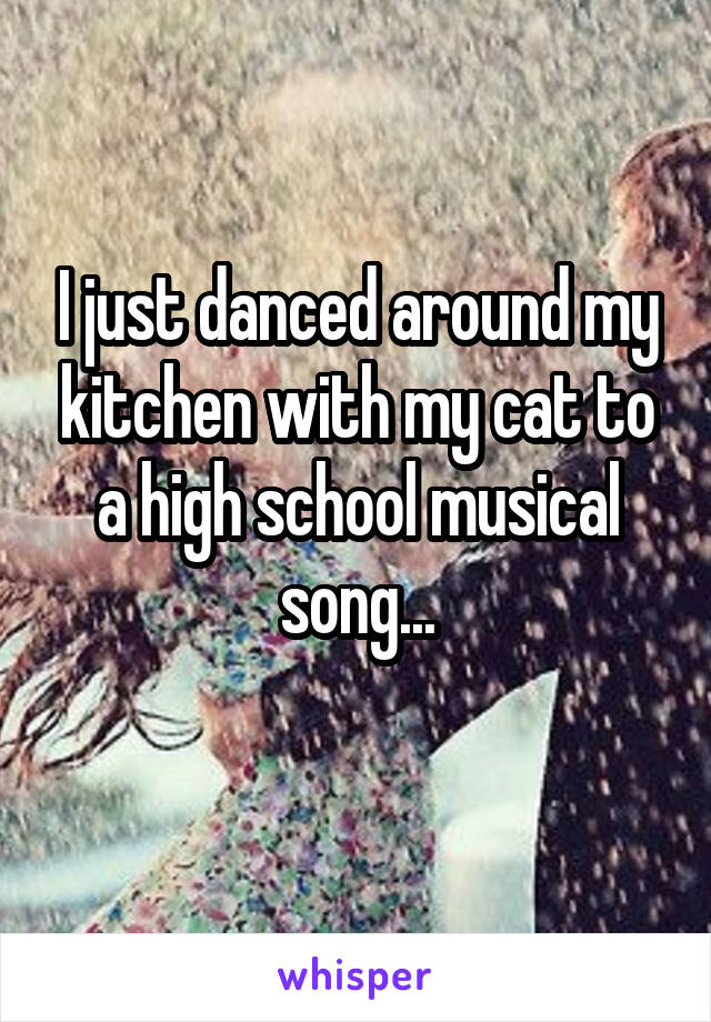 I just danced around my kitchen with my cat to a high school musical song...