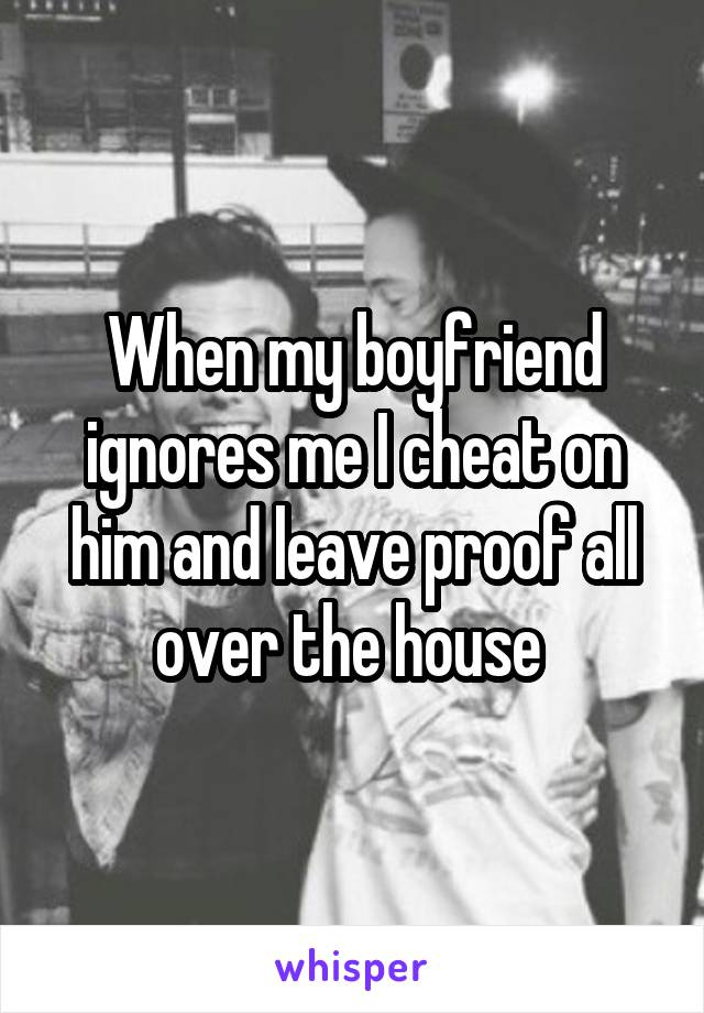 When my boyfriend ignores me I cheat on him and leave proof all over the house
