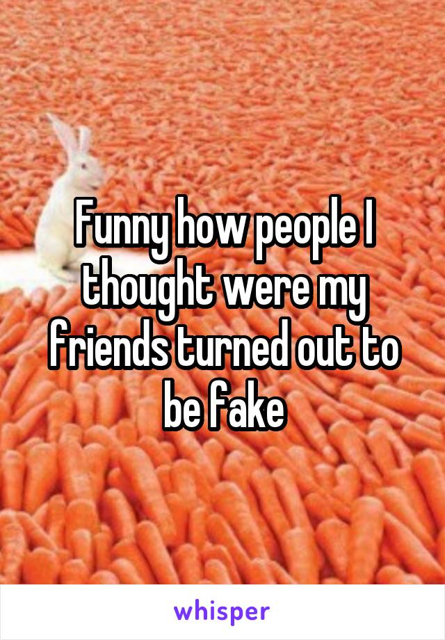 Funny how people I thought were my friends turned out to be fake