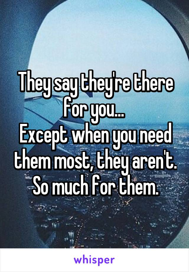 They say they're there for you...  Except when you need them most, they aren't. So much for them.