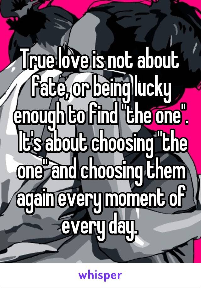 """True love is not about  fate, or being lucky enough to find """"the one"""".  It's about choosing """"the one"""" and choosing them again every moment of every day."""