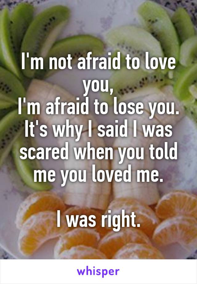I'm not afraid to love you, I'm afraid to lose you. It's why I said I was scared when you told me you loved me.  I was right.