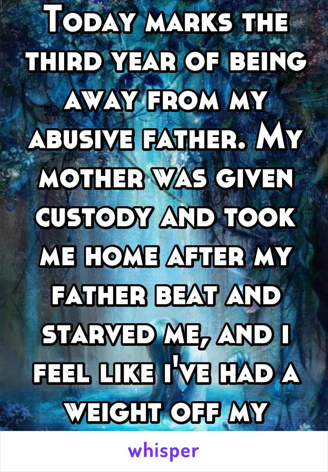 Today marks the third year of being away from my abusive father. My mother was given custody and took me home after my father beat and starved me, and i feel like i've had a weight off my shoulders