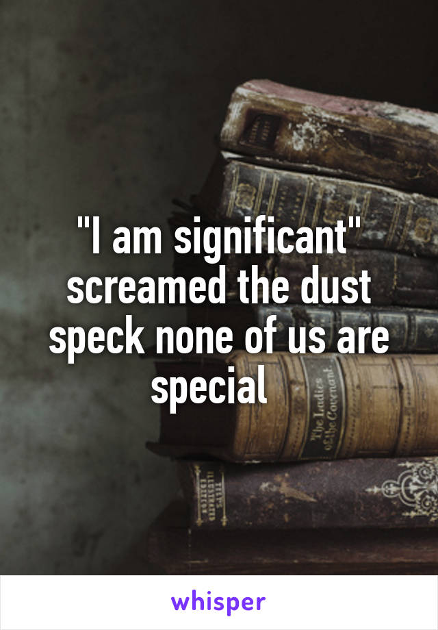 """""""I am significant"""" screamed the dust speck none of us are special"""