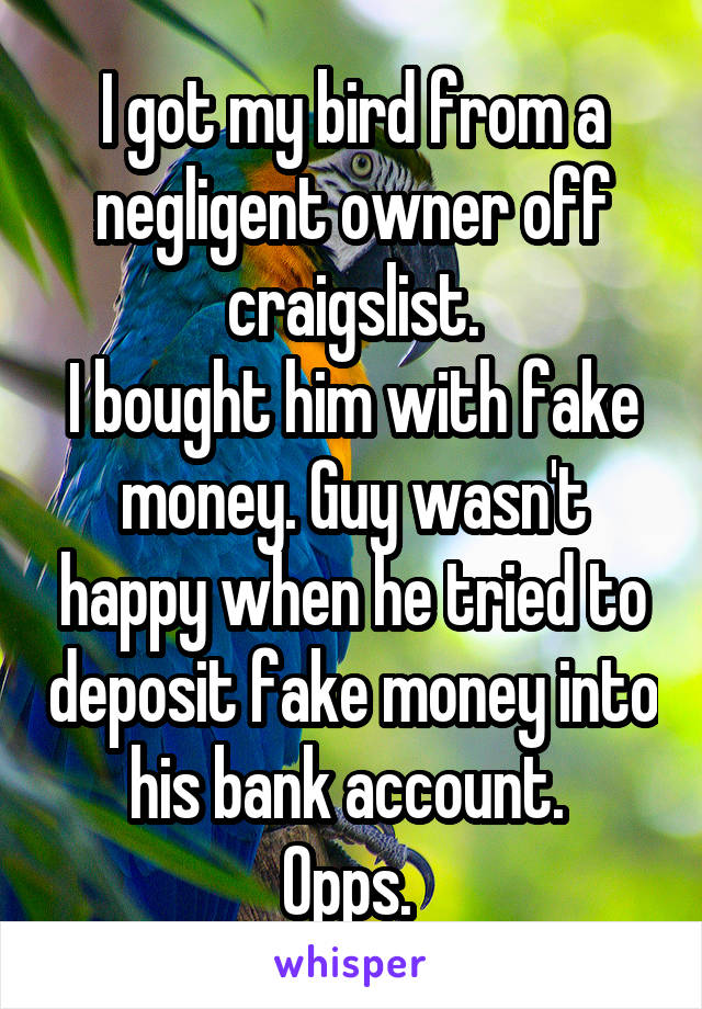 I got my bird from a negligent owner off craigslist. I bought him with fake money. Guy wasn't happy when he tried to deposit fake money into his bank account.  Opps.