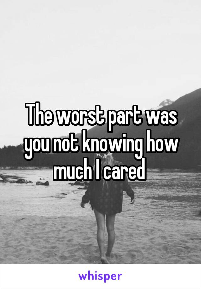 The worst part was you not knowing how much I cared
