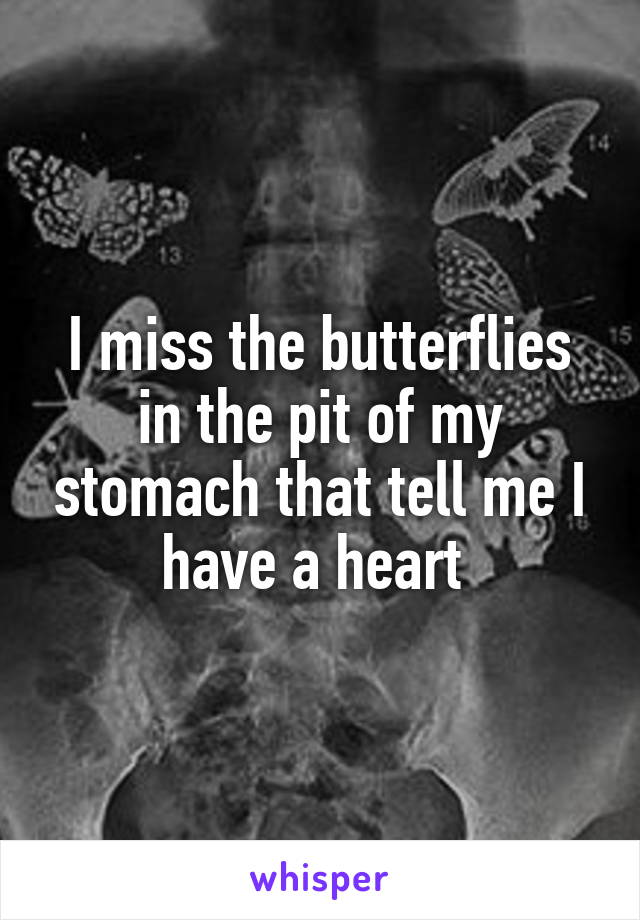 I miss the butterflies in the pit of my stomach that tell me I have a heart