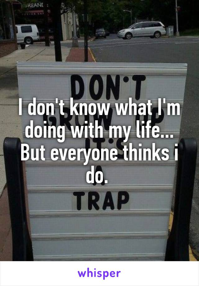 I don't know what I'm doing with my life... But everyone thinks i do.