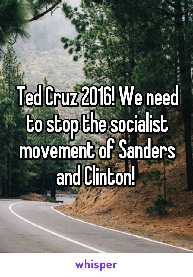 Ted Cruz 2016! We need to stop the socialist movement of Sanders and Clinton!
