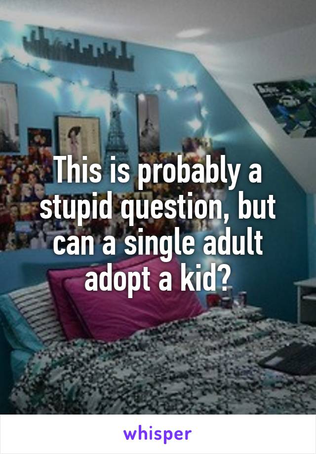 This is probably a stupid question, but can a single adult adopt a kid?
