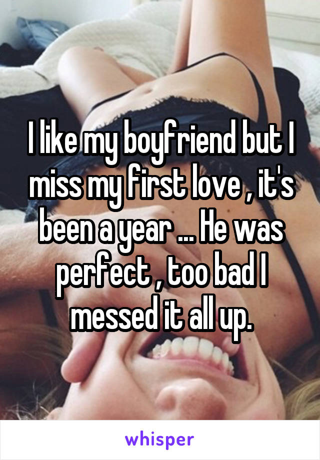 I like my boyfriend but I miss my first love , it's been a year ... He was perfect , too bad I messed it all up.