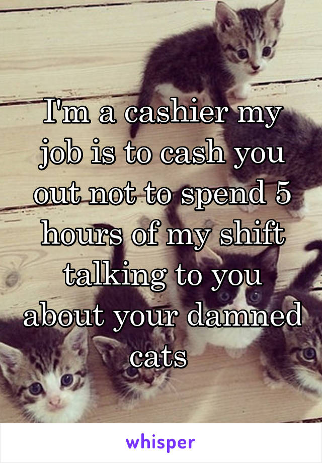 I'm a cashier my job is to cash you out not to spend 5 hours of my shift talking to you about your damned cats