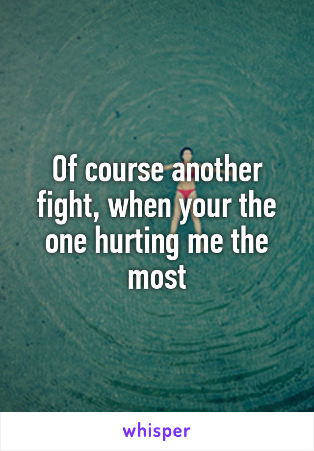 Of course another fight, when your the one hurting me the most